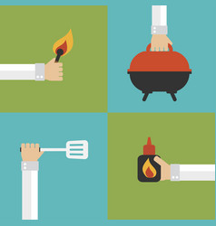 Barbecue and grill modern design flat set vector