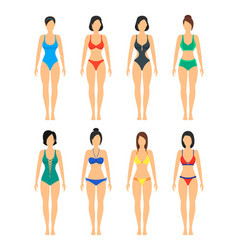 Beautiful girls in color bathing suits set vector