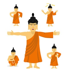 Buddha set of movements indian god set of poses vector