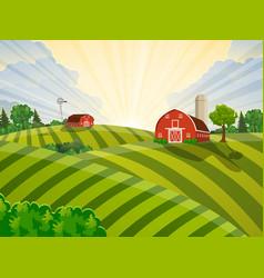 cartoon farm green seeding field vector image vector image