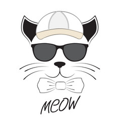 cat head in goggles and cap on a white background vector image