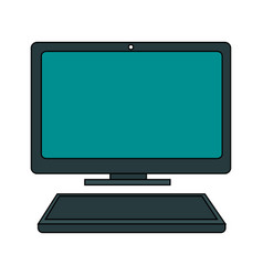 Color graphic desk computer tech device with vector