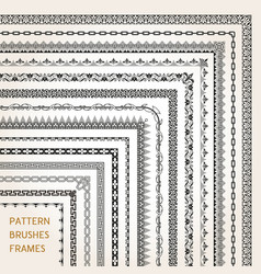 Corner border frame line pattern brushes 1 vector
