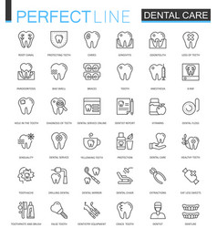 Dental care thin line web icons set outline vector