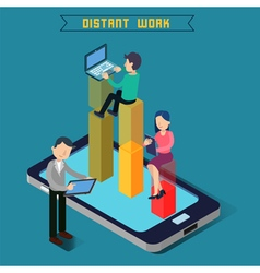 Distant work team work modern technology vector