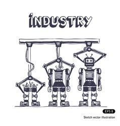 Factory is making robots vector