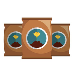 Fertilizer bags isolated icon vector