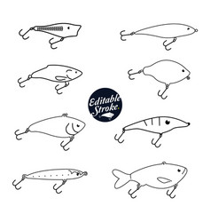 fishing baits editable icons vector image vector image