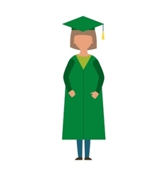 Happy graduation people uniform throwing caps vector image