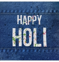 Happy holi paper text with color stains vector