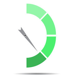 Indicator green with pointer needle vector