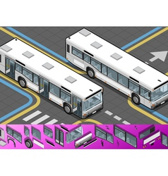 Isometric bus with opened doors vector