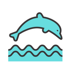 Jumping dolphin icon vector