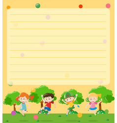 Line paper template with kids in park vector