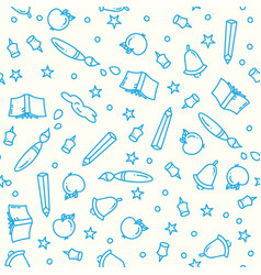 pattern of back to school with thin line icons vector image