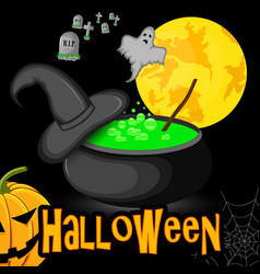 poster halloween cauldron with witch hat night vector image vector image