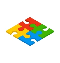 Puzzle icon isometric 3d style vector image