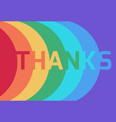rainbow thank you paper layer card flat desiagn vector image vector image