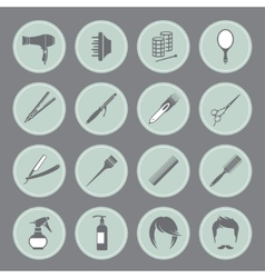 Round hairdressing equipment icons vector image vector image