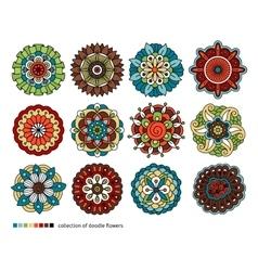 Spring doodle flower set vector image vector image