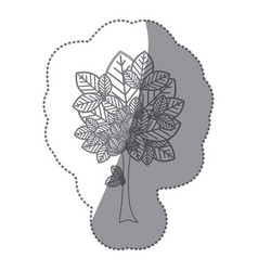 Sticker gray color leafy tree plant with large vector