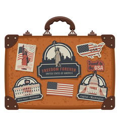 suitcase with american symbols and monuments vector image