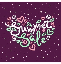 Summer Sale design with lettering in soft vector image vector image