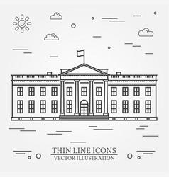 thin line icon white house vector image vector image