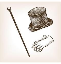 Vintage cylinder cane gloves sketch style vector image vector image