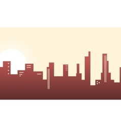 Silhouette of city building lined scenery vector