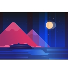 Mountains and boat night landscape - modern flat vector