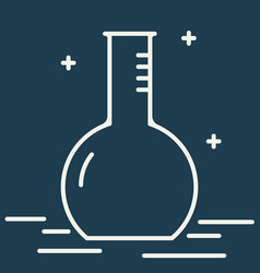 Chemical round bottom flask line icon vector
