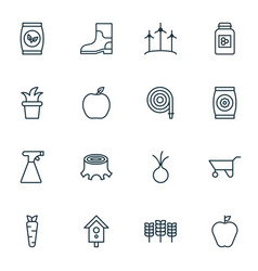 Set of 16 farm icons includes fire tube vector