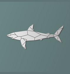 polygonal geometric grey shark vector image