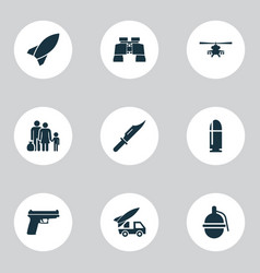 Battle icons set collection of cutter glass vector