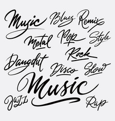 music and rock hand written typography vector image