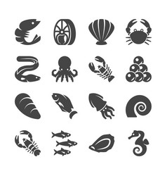 Sea food black silhouette icons vector