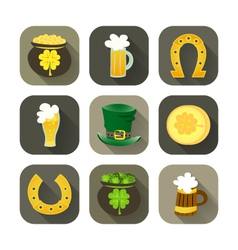 St Patrick Day icon set vector image