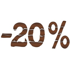 20 Wood percentage icon - isolated on the white vector image