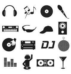 Music club dj black simple icons set eps10 vector