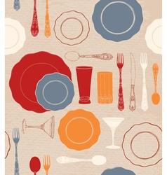 Different tableware seamless pattern vector