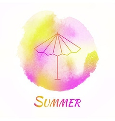 Summer sun umbrella watercolor concept vector