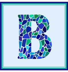 B - letter - green watercolor mosaic vector