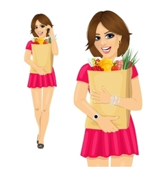 Young woman holding a grocery shopping bag vector