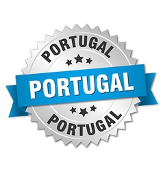 Portugal round silver badge with blue ribbon vector