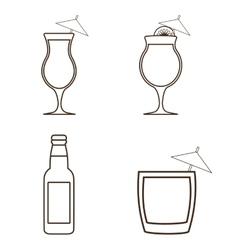 Silhouette set of cocktails alcohol design vector