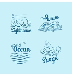Ocean wave logo set vector