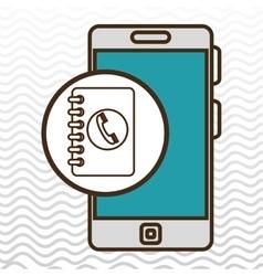 Smartphone blue telephone isolated icon design vector