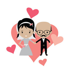 adorable groom and bride lovely marriage cartoon vector image