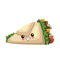 Burrito mexican food cute kawaii cartoon vector